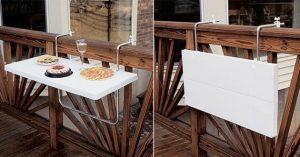 Flexibiliteit in de tuin is mogelijk door deze uitklaptafel voor het balkon